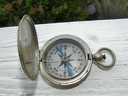 Vintage Wwii U.s Military Field Compass - Wittnauer - Pocket Watch Style - Works