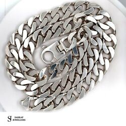 Flat Classic Curb Chain 925 Solid Sterling Silver Heavy Necklace 26 13mm 195gr