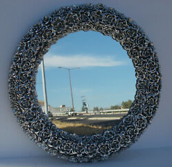 Round Punched Tin Mirror Flower Roses Mexican Hacienda Style 25