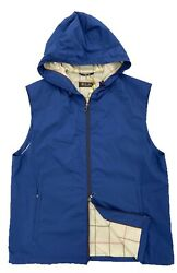Loro Piana Royal Blue Vest With Hood Size Xxxl, Made In Italy