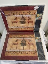 Eight 8x Pimpernel Placemats Joy Christmas Reindeer New