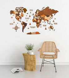 3d Wooden World Wall Map In Brown Colors Xxl Size 98 X 51andrdquo