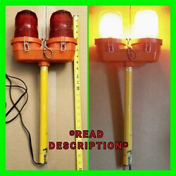 Vintage Red Airport Runway Lights Taxi Dual Landing Lights With Pole Working