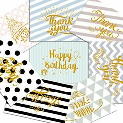 Assorted 48 Pack Greeting Cards Gold Foil - Thank You Cards Of 6 Designs Happ...
