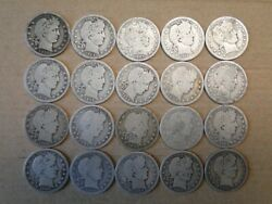 Collection Of 20 Different Date/mint Silver Barber Quarters