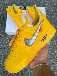 Off White Air Force 1 Ica - Universtiy Gold - Size 10 - 100 Authentic