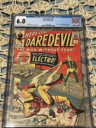 Daredevil 2 Cgc 6.0 Ow/w 2nd Appearance Daredevil And Electro 1964 Stan Lee Story
