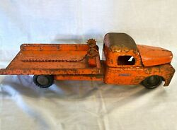 Vintage 1940s Structo Toys Pressed Steel Flatbed Tow Truck W/ Wench