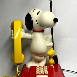 Vtg Snoopy Woodstock Telephone Lamp Combo Peanuts Touchtone Phone Red Yellow 70s