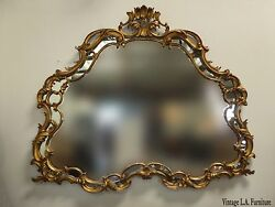 Large 63w Vintage French Louis Xvi Rococo Gold Wall Mantle Mirror Made In Italy