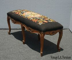 Antique 20th Century 1932 French Louis Xvi Brown Orange Floral Tapestry Bench