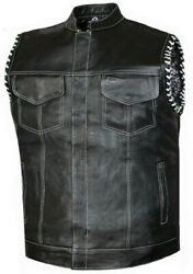 Mens Club Style Perforated Paisley Liner Motorcycle Concealed Carry Leather Vest