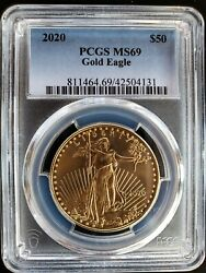 2020 50 Gold American Eagle Pcgs Ms69 United States Mint 1 Oz. Fine Gold Coin