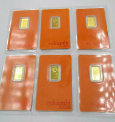 Lot Of 6 Gold Bars | 2.5 Grams/each | 24k Valcambi Suisse .999