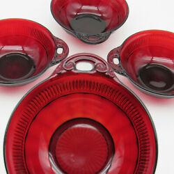 Anchor Hocking Ruby Red Coronation Berry Bowls, Set Of Four 4, Double Handles