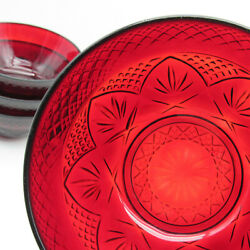 Cristal D'arques Salad Bowls, Set Of Four, Ruby Red Glass 5 1/2 Cereal Serving