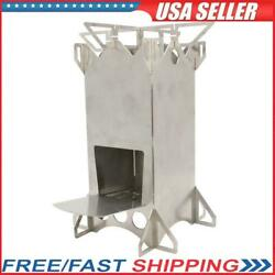 Stainless Steel Folding Wood Stove Camping Cook Picnic Burning Rocket Stove