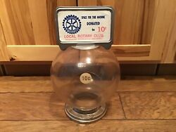 Large Vintage 10 Cent Ford Gumball Machine Plastic Globe, Coin Slot Ring, Topper