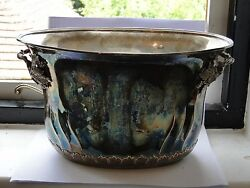 Large Double Wine Cooler Sterling Silver 800 Standard Cast Handles Circa 1940