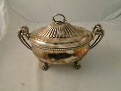 Soup Tureen/ Punch Bowl Silver Plated Medium Size French Shape Unmarked C-1800