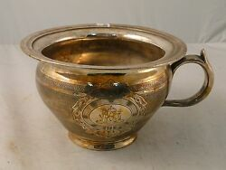 Silver Plated Bed Pan Engine Turn. Engraved Cast Handle 1880 Orginal Gilding