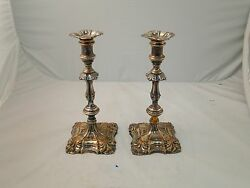 Candle Sticks Silverplate Georgian English 1750-80 Old Sheffield Antique Rustic