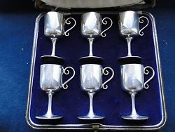 Boxed Set Of Miniature Sized Goblets, Sterling Silver, Sheffield 1913 Marks