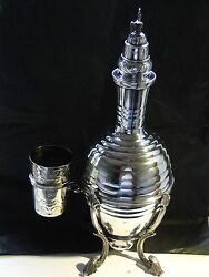 Decanter, Sterling Silver, Bottle, Stand And Cup, Fully Marked Italian, 1950