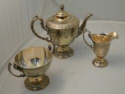 Victorian Silver Plated Three Pieces Tea Set Engraved English 1870 Bead Pattern