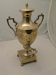 Silver Plated Tea Kettle/ Samovar/ Urn England 1870 Engraved Body With Tap