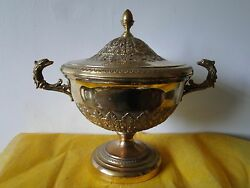 Soup Tureen French Empire Style Sterling Silver Gilt 800 Italian Made Circa 1950