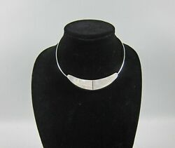 Chunky Mid Century Modernist Wire Choker W/mop And Sterling Slide Pendant Unique