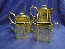 Silver Plated Tea And Coffee Set Victorian Square Engraved Circa 1870 English