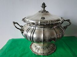 Soup Tureen Sterling Silver 800, French Antique Copy, Italy 1940 Good Quality