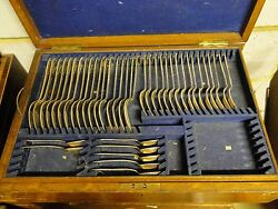 Canteen Of Cutlery Boxed Silver Plated Grecian Pattern 1850 English Antique