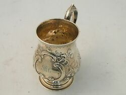 Beer Mug Sterling Silver Beautifully Chased And Engraved, Large , Birmingham 1871