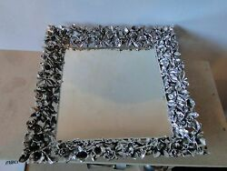 Salver/tray Sterling Silver, Cast Pierced Rose And Tulip Border, Art Nouveau