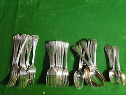 Silver Plated Flatware Antique Old English Military And Shell 1890, Top Quality