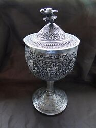 Cup And Cover, Sterling Silver India, Chased Engraved, Antique, Rare Religious