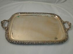 Square Tray Silver Plate Old Sheffield 1800 Antique Rose Patt Cast Border Handle