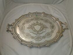 Large Tray Silver Plated Circa 1865 Antique Beautifully Engraved Pierced Border
