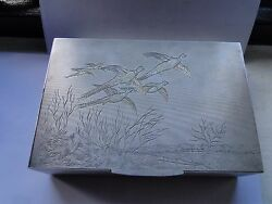 Pheasantand039s Sterling Siver Box Beautifully Engraved Engine Turn London 1940