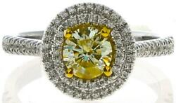 .99ct White And Fancy Yellow Diamond 18kt 2 Tone Gold Double Halo Engagement Ring