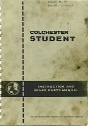 Colchester Student Lathe Instruction Operator And Parts Manual 6x24 12x24