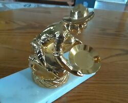 Vtg Cast Plated Metal Miner Statue Panning Gold On Marble Paper Weight