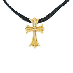 Chrome Hearts 22k Small Ch Cross Tiny Scroll Leather Blade Necklace Golor _16278