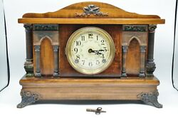 Beautiful Antique F.s Clock Mantel 4 Column Wind Up With Key Free Shipping