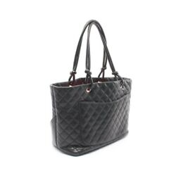 Cambon Line Large Tote Bag Calfskin Black White Silver Fittings A2 _29882