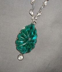 Superb Antique Victorian/edwardian Sterling Silver , Paste And Green Glass Necklac