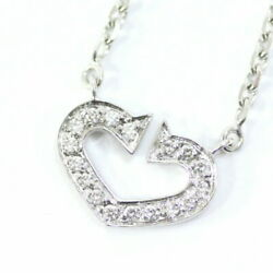Heart Necklace Women And039s Silver K18 White Gold Diamond _6344